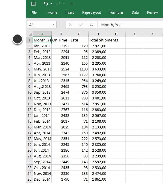 Verify that the .CSV file contains correct data - example is in Excel display