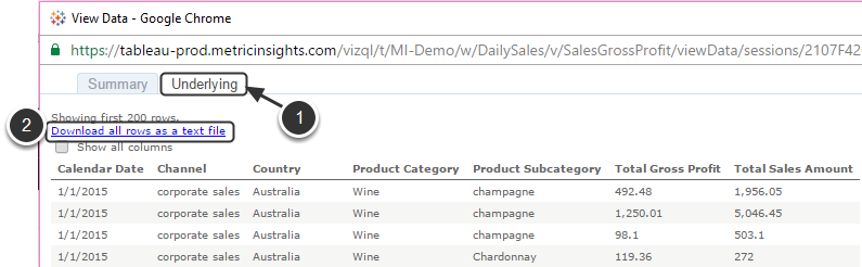 [View Data] Select 'Underlying' tab and click the download link