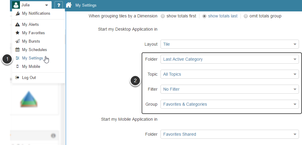 Define default Filtering and Grouping for your Homepage