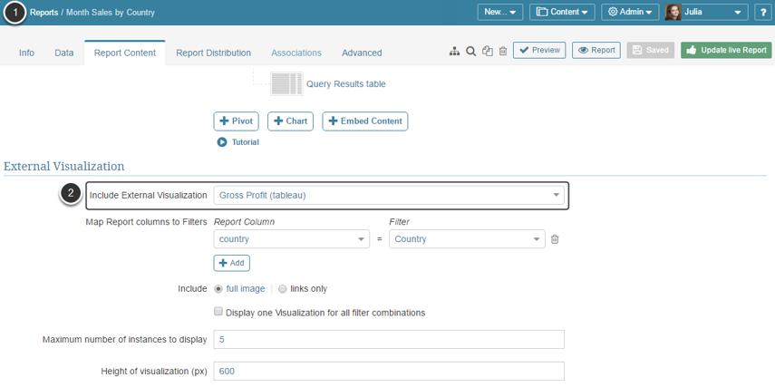 Access Report Editor > Report Content tab