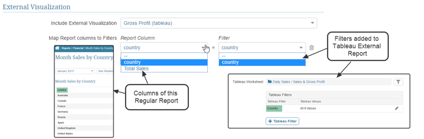 Map Report Columns to Tableau filters applied to the External Report