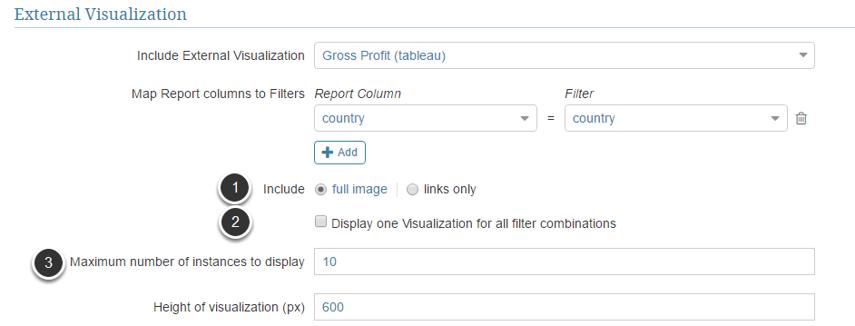 Define Visualization settings