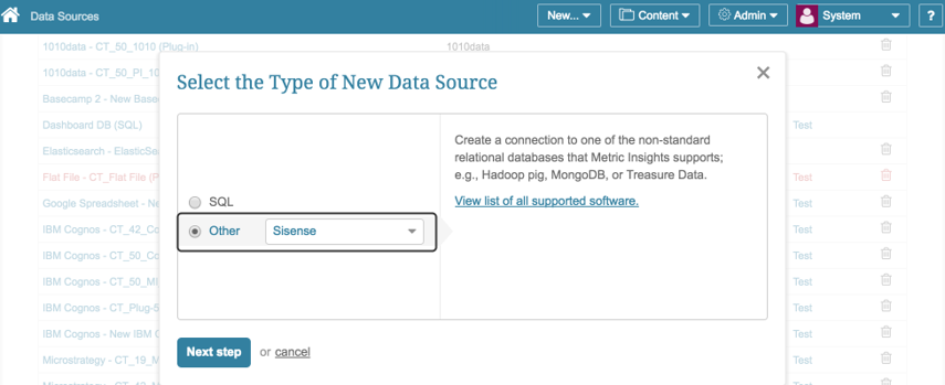"""Select """"Other"""" Data Source Type and choose """"Sisense"""" from the drop-down"""