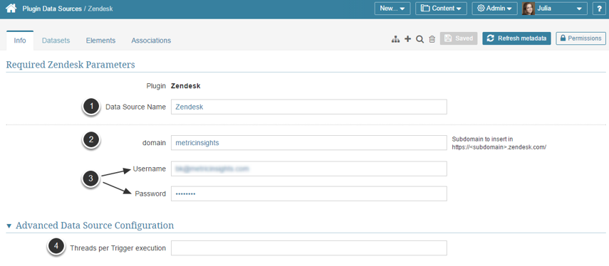 Provide the Parameters for establishing connection with Zendesk