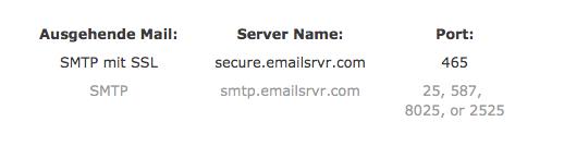 Dies sind die Servereinstellungen für den Postausgang (SMTP)