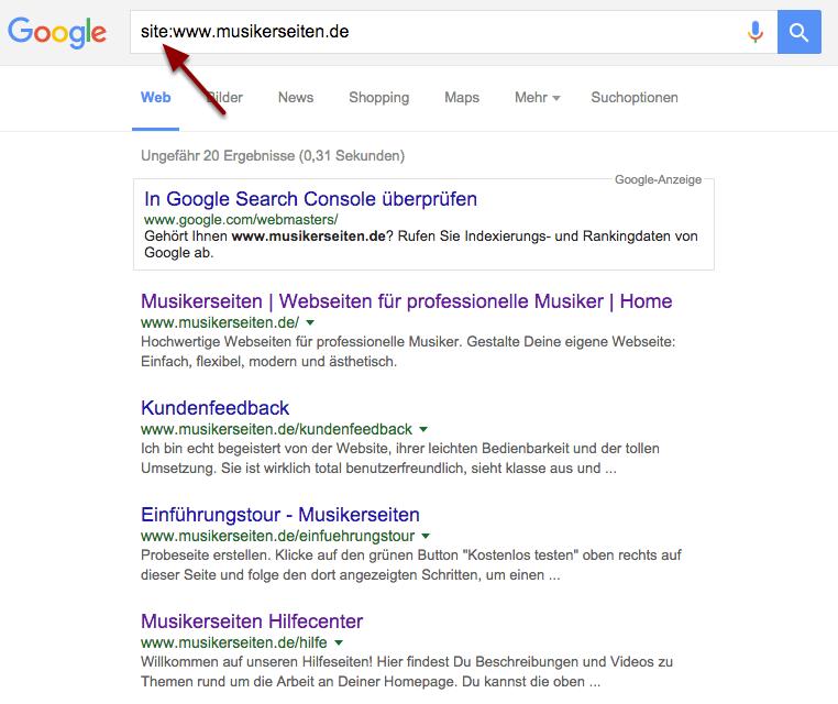 Überprüfe, ob Deine Webseite im Index von Google vorhanden ist.