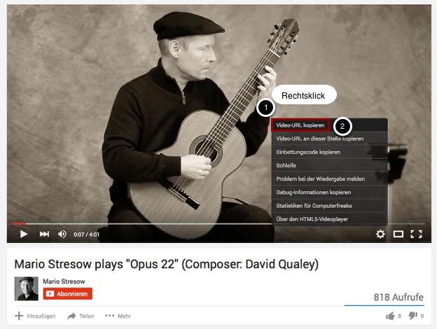 Rufe das Video bei YouTube auf und kopiere die Video-URL.