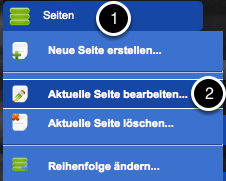 1. Klicke auf Seiten --> aktuelle Seite bearbeiten...