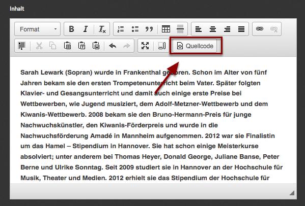 """Bearbeite den Textabschnitt und klicke im Editor auf den Button """"Quellcode"""""""