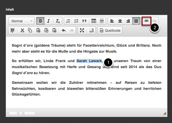 Bearbeite den Textabschnitt, in dem der Link vorkommen soll und wähle die Wörter, die den Link bilden sollen. Klicke anschließend auf das Link-Symbol.