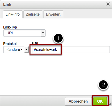 Trage die in Schritt 1 von Dir erstellte ID mit vorangestellter Raute in das Feld URL ein und bestätige mit OK.