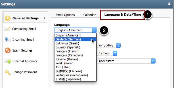 """2. Klicke auf den Reiter """"Language & Date/Time"""" und wähle Deine Sprache aus."""