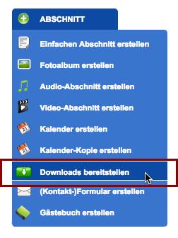 Schritt 1: Lege auf einer beliebigen Seite einen Downloads-Abschnitt an