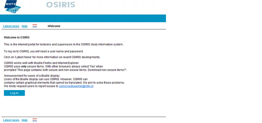 """Welcome to OSIRIS"" screen"