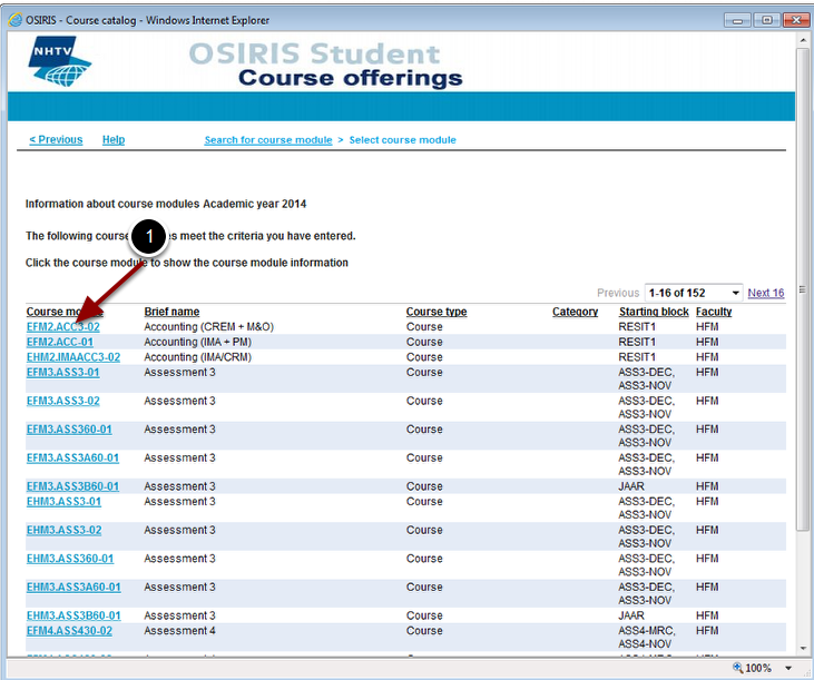 A list of course modules - matching your criteria - will appear on the screen
