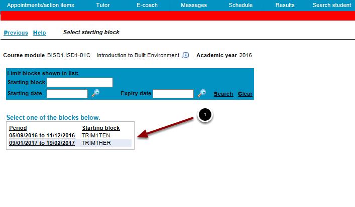 Select starting block