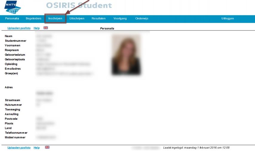 Open Osiris student, log in en ga naar menu inschrijven.