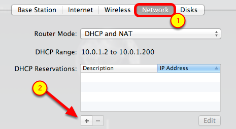 Select the Network Tab and Click the + Button