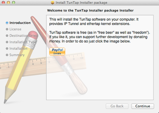 Open the Package File (in the folder after tuntap expands)