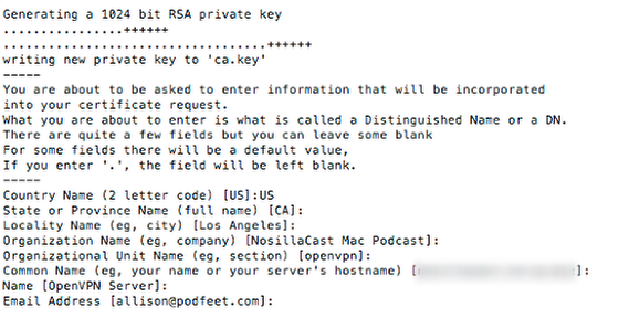 Hit Enter for All These Questions for an RSA Key