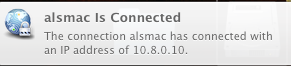 Fleeting Notification of Connection