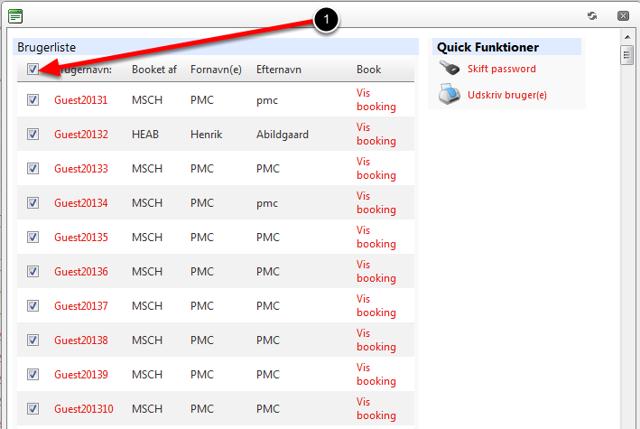 Du er nu tilbage ved oversigten over gæstebruger grupper og kan printe oplysningerne til brugeren: