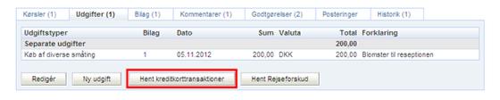 Registrering af udgifter betalt med firmahæftede MasterCard
