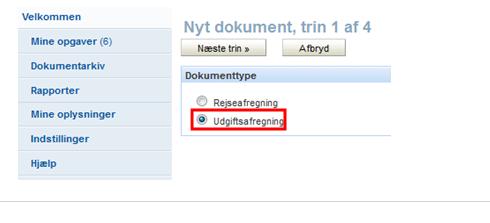 Trin 1 af 4: Valg af dokumenttype: Udgiftsafregning