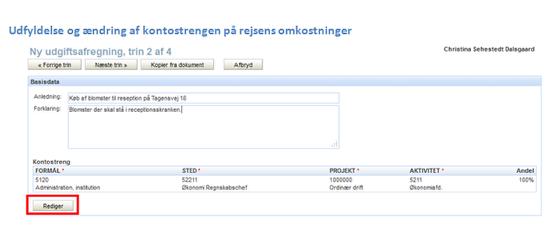 Trin 2 af 4: Udgiftsafregningens basisdata