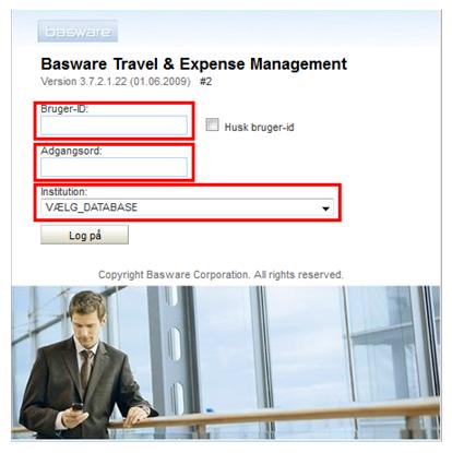 Første adgang til RejsUd-systemets Web-klient