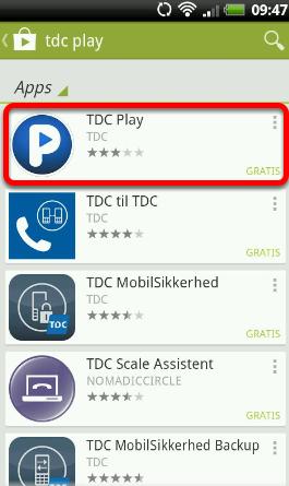 """Forskellige Apps dukker op. Vælg: """"TDC Play"""""""