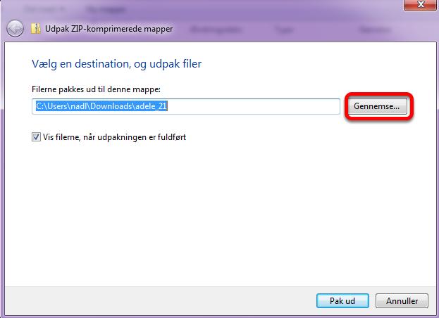 """Et nyt vindue lukker op: her vælger du hvilken mappe filerne skal udpakkes til ved at klikke på: """"Gennemse..."""""""