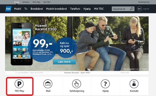 """Gå ind på siden http://tdc.dk og klik på: """"TDC Play"""""""