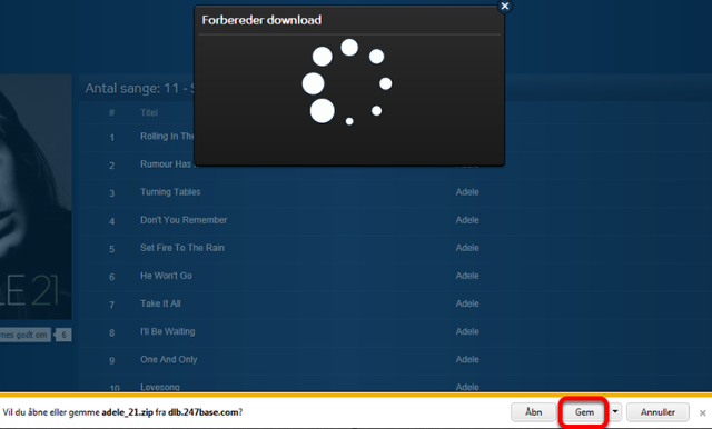Når du har klikket på en downloadknap i Internet Explorer (i andre browsere fungerer det på en lidt anden måde)