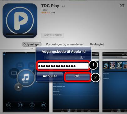 Du bliver bedt om adgangskoden til dit Apple-id