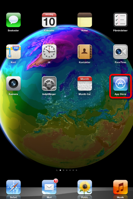 "Luk din telefon op og klik på ""App Store"""