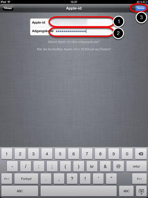 Videre med Apple-id og adgangskode