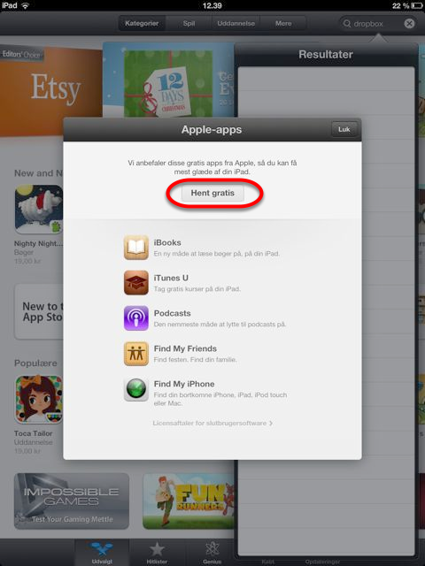 Første gang i App Store