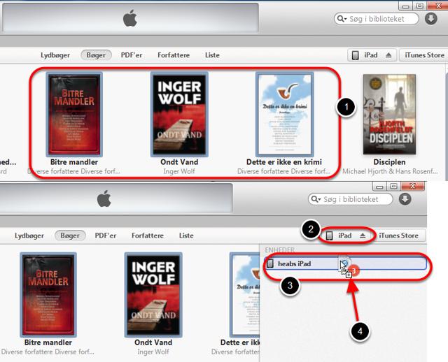 Når iPad'en er tilsluttet computeren kan bøger overføres til iPad'en.