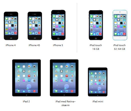 Disse Apple produkter kan bruge IOS7: