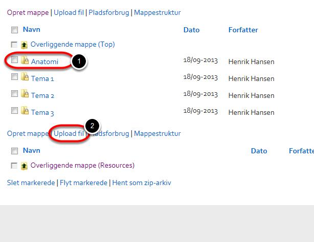 Når alle undermapperne er oprettet kan du begynde at uploade filer