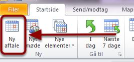 """Tryk på """"Ny Aftale"""" i Outlook kalender"""
