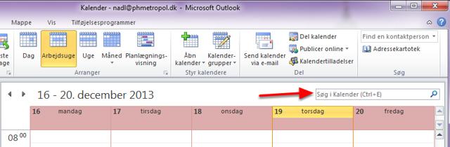 Gå ind i din Outlook kalender