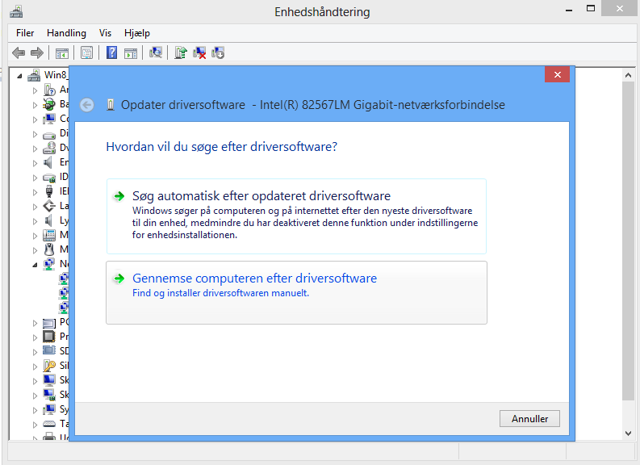 """Vælg """"Gennemse computeren efter driversoftware"""""""