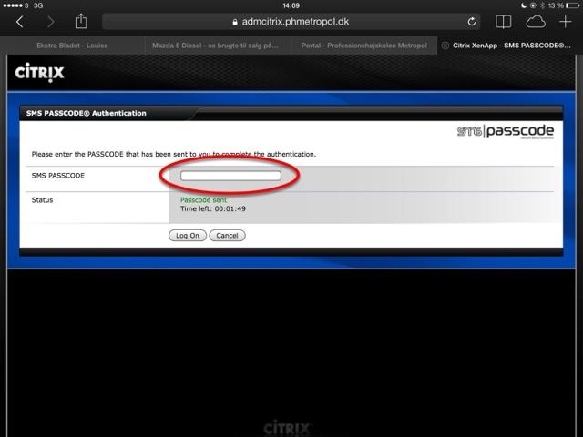 SMS-passcode - sms til arbejdstelefon