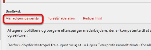 """Gå nu til Sitecore under """"Generelt indhold"""" og feltet """"Brødtekst"""""""