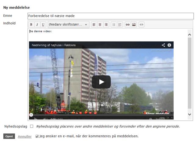 Teksteditoren viser nu den indlejrede video
