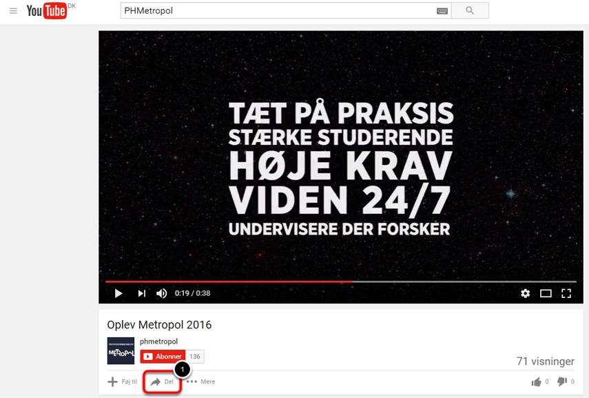 Find dien video du vil indlejre på youtube