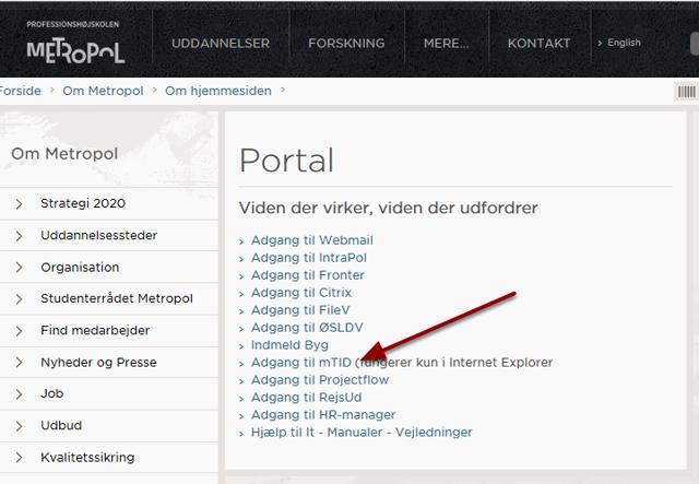 Start Internet Explorer og gå til portal.phmetropol.dk