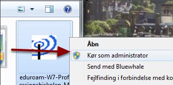 """Højreklik på filen og vælg """"Kør som administrator"""""""